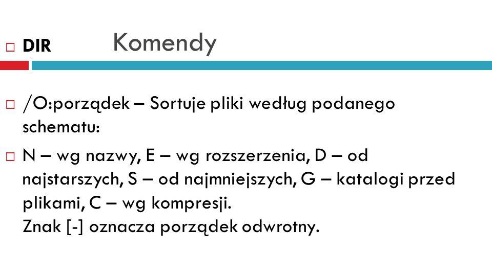 Komendy  DISKCOMP  Porównuje dwie, tak samo sformatowane dyskietki.