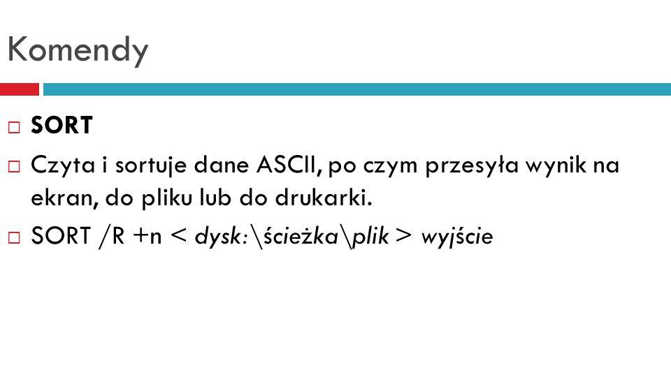 Komendy  SUBST  Podstawia symbol dysku w miejsce nazwy katalogu.