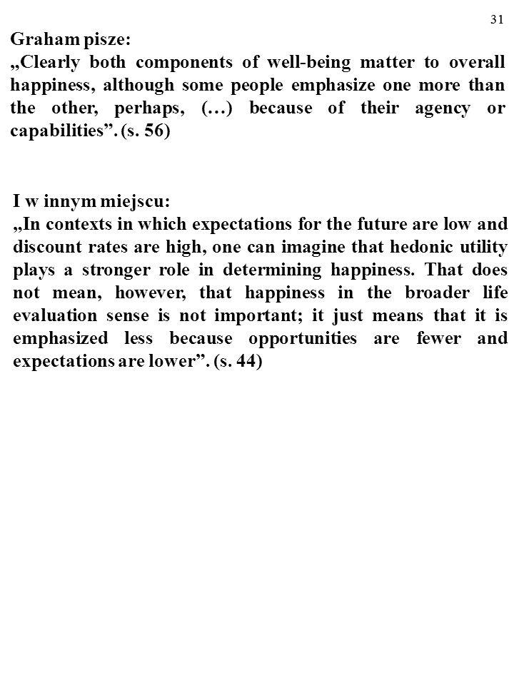"""30 Np. autorka hasła """"economics of happiness"""" z NPDE z 2008 r. 1/. Carol Graham rozróżnia """"szczęście"""" w sensie Jeremiasza Benthama (1748-1832) i w sen"""