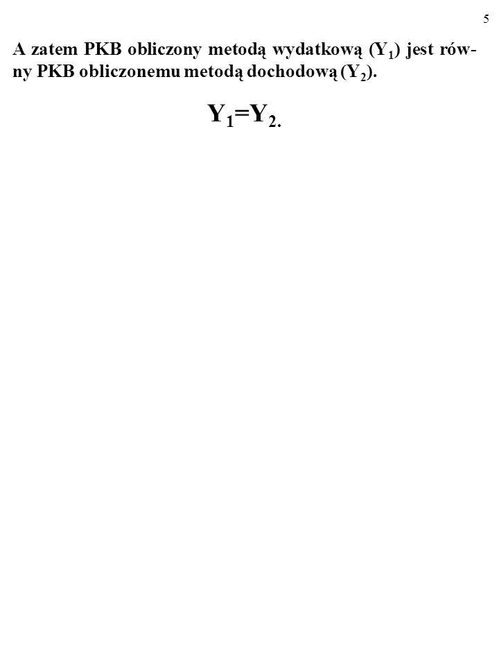 5 A zatem PKB obliczony metodą wydatkową (Y 1 ) jest rów- ny PKB obliczonemu metodą dochodową (Y 2 ).