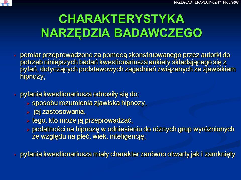 CHARAKTERYSTYKA NARZĘDZIA BADAWCZEGO pomiar przeprowadzono za pomocą skonstruowanego przez autorki do potrzeb niniejszych badań kwestionariusza ankiet