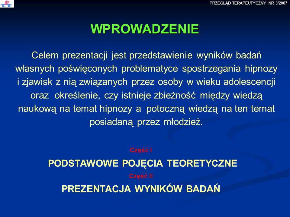 WPROWADZENIE Celem prezentacji jest przedstawienie wyników badań własnych poświęconych problematyce spostrzegania hipnozy i zjawisk z nią związanych p
