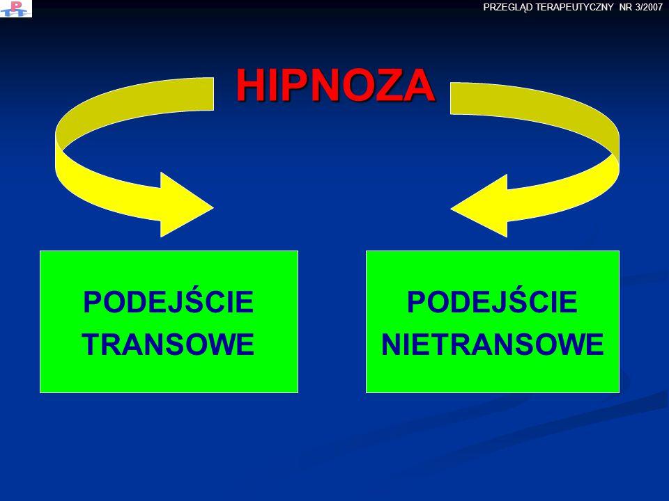 HIPNOZA HIPNOZA PODEJŚCIE TRANSOWE PODEJŚCIE NIETRANSOWE PRZEGLĄD TERAPEUTYCZNY NR 3/2007