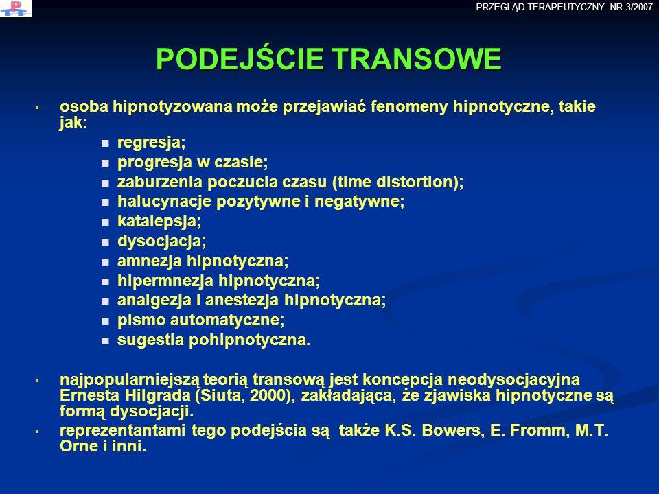 PODEJŚCIE TRANSOWE PODEJŚCIE TRANSOWE osoba hipnotyzowana może przejawiać fenomeny hipnotyczne, takie jak: regresja; progresja w czasie; zaburzenia po