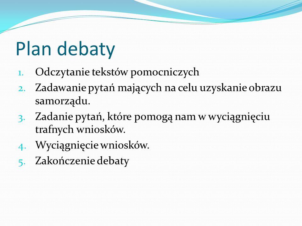 Plan debaty 1. Odczytanie tekstów pomocniczych 2. Zadawanie pytań mających na celu uzyskanie obrazu samorządu. 3. Zadanie pytań, które pomogą nam w wy