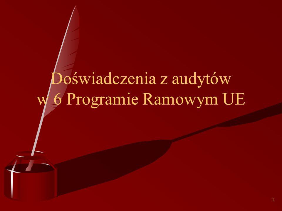 1 Doświadczenia z audytów w 6 Programie Ramowym UE