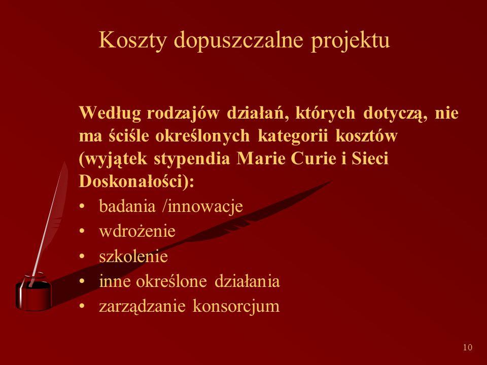 10 Koszty dopuszczalne projektu Według rodzajów działań, których dotyczą, nie ma ściśle określonych kategorii kosztów (wyjątek stypendia Marie Curie i Sieci Doskonałości): badania /innowacje wdrożenie szkolenie inne określone działania zarządzanie konsorcjum