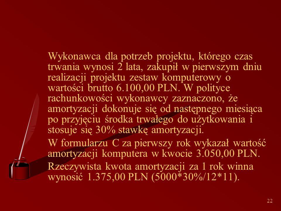 22 Wykonawca dla potrzeb projektu, którego czas trwania wynosi 2 lata, zakupił w pierwszym dniu realizacji projektu zestaw komputerowy o wartości brutto 6.100,00 PLN.