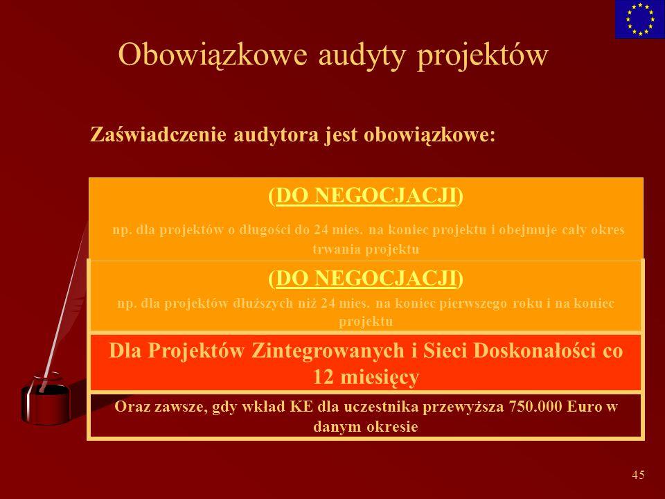 45 Obowiązkowe audyty projektów Zaświadczenie audytora jest obowiązkowe: Oraz zawsze, gdy wkład KE dla uczestnika przewyższa 750.000 Euro w danym okresie Dla Projektów Zintegrowanych i Sieci Doskonałości co 12 miesięcy (DO NEGOCJACJI) np.
