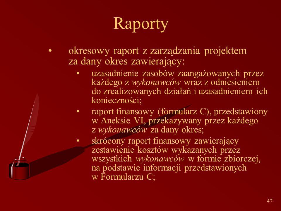 47 Raporty okresowy raport z zarządzania projektem za dany okres zawierający: uzasadnienie zasobów zaangażowanych przez każdego z wykonawców wraz z odniesieniem do zrealizowanych działań i uzasadnieniem ich konieczności; raport finansowy (formularz C), przedstawiony w Aneksie VI, przekazywany przez każdego z wykonawców za dany okres; skrócony raport finansowy zawierający zestawienie kosztów wykazanych przez wszystkich wykonawców w formie zbiorczej, na podstawie informacji przedstawionych w Formularzu C;
