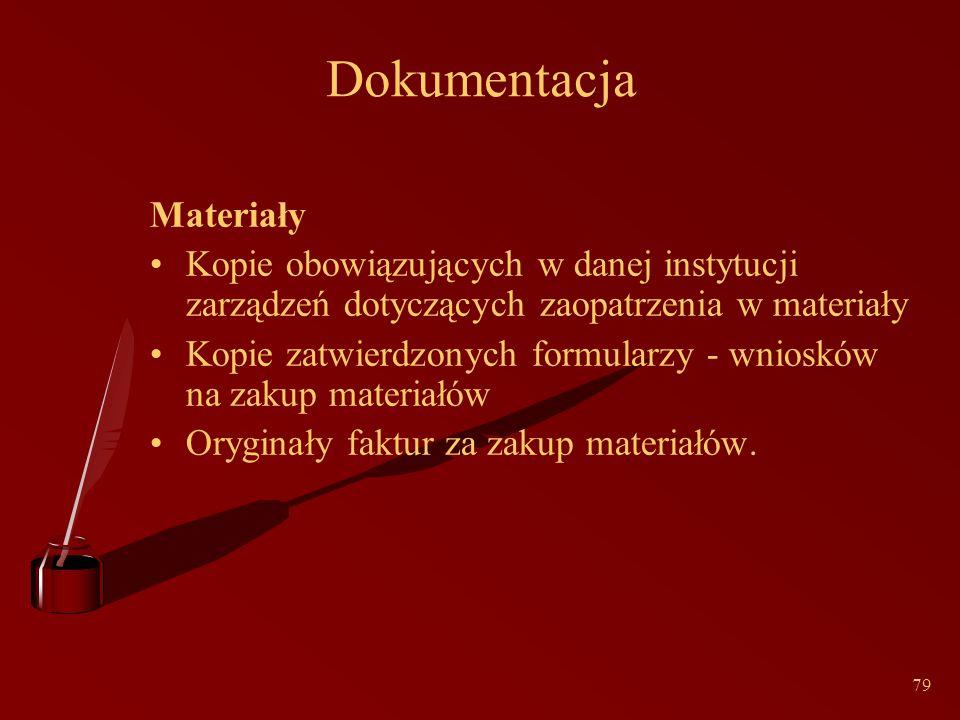 79 Dokumentacja Materiały Kopie obowiązujących w danej instytucji zarządzeń dotyczących zaopatrzenia w materiały Kopie zatwierdzonych formularzy - wniosków na zakup materiałów Oryginały faktur za zakup materiałów.