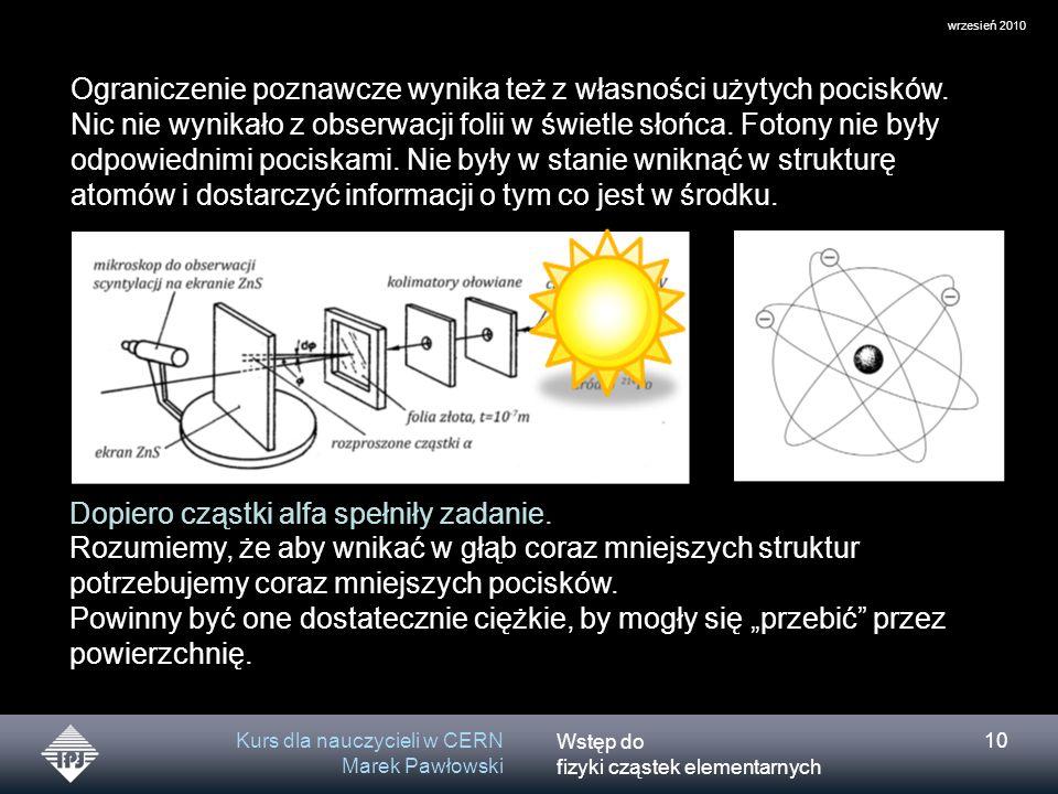 Wstęp do fizyki cząstek elementarnych wrzesień 2010 Kurs dla nauczycieli w CERN Marek Pawłowski 10 Rozumiemy, że aby wnikać w głąb coraz mniejszych st