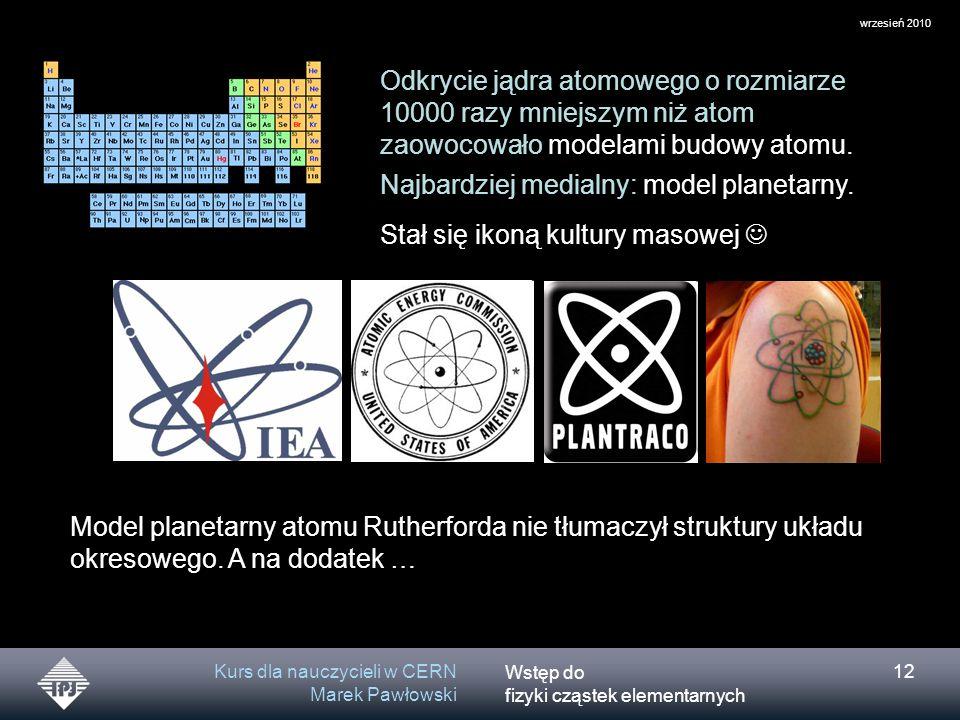 Wstęp do fizyki cząstek elementarnych wrzesień 2010 Kurs dla nauczycieli w CERN Marek Pawłowski 12 Odkrycie jądra atomowego o rozmiarze 10000 razy mni