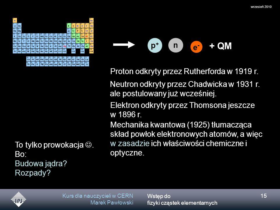 Wstęp do fizyki cząstek elementarnych wrzesień 2010 Kurs dla nauczycieli w CERN Marek Pawłowski 15 p+p+ n e-e- + QM Proton odkryty przez Rutherforda w