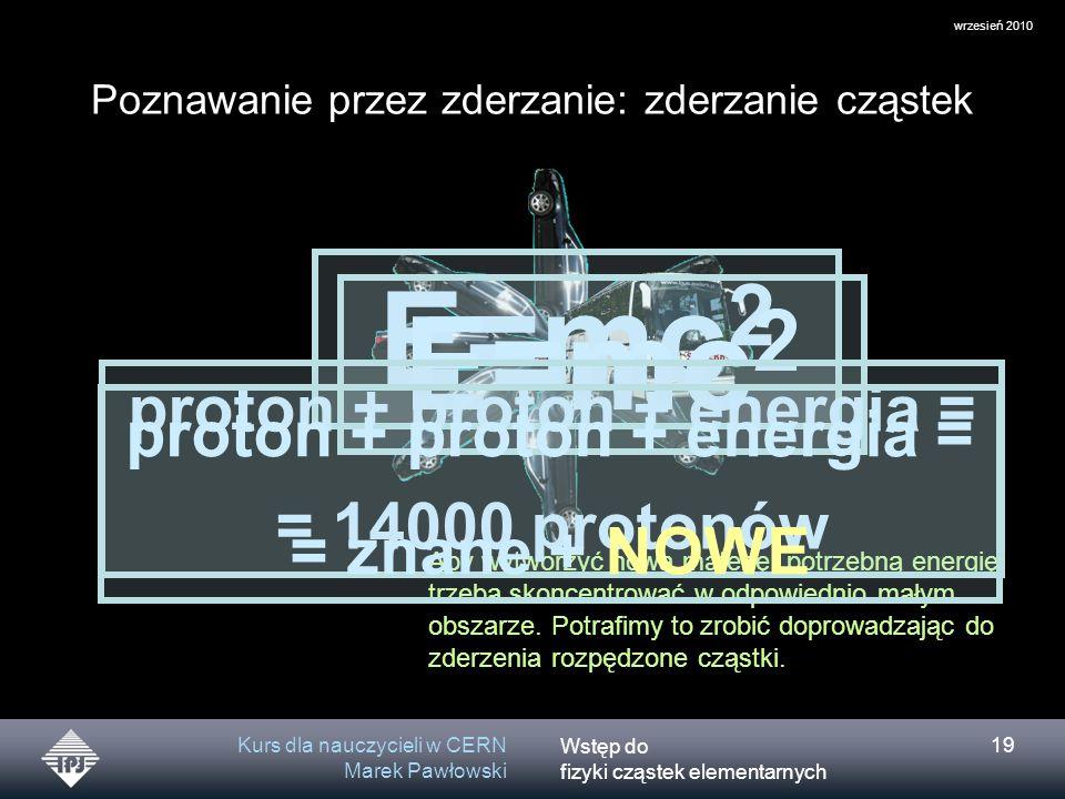 Wstęp do fizyki cząstek elementarnych wrzesień 2010 Kurs dla nauczycieli w CERN Marek Pawłowski 19 Poznawanie przez zderzanie: zderzanie cząstek Aby w
