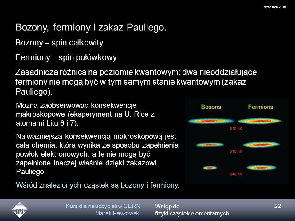 Wstęp do fizyki cząstek elementarnych wrzesień 2010 Kurs dla nauczycieli w CERN Marek Pawłowski 22 Bozony, fermiony i zakaz Pauliego. Bozony – spin ca