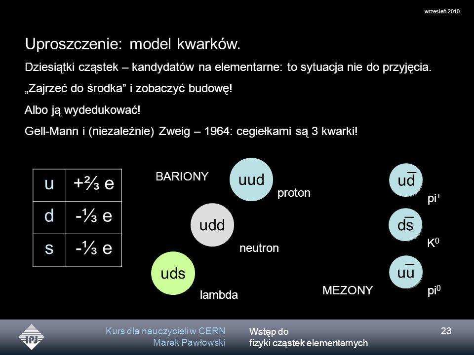 Wstęp do fizyki cząstek elementarnych wrzesień 2010 Kurs dla nauczycieli w CERN Marek Pawłowski 23 uu ¯ ds ¯ Uproszczenie: model kwarków. Dziesiątki c