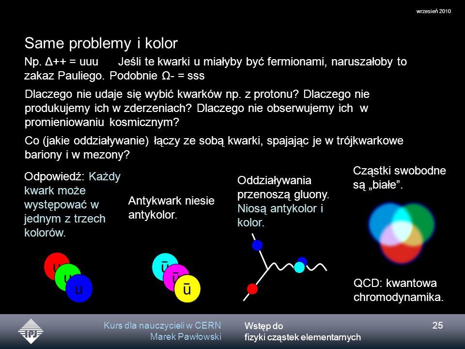 Wstęp do fizyki cząstek elementarnych wrzesień 2010 Kurs dla nauczycieli w CERN Marek Pawłowski 25 Same problemy i kolor Np. Δ++ = uuu Jeśli te kwarki