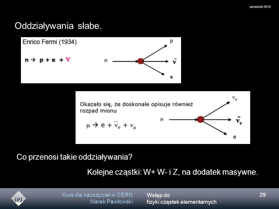 Wstęp do fizyki cząstek elementarnych wrzesień 2010 Kurs dla nauczycieli w CERN Marek Pawłowski 29 Co przenosi takie oddziaływania? Kolejne cząstki: W