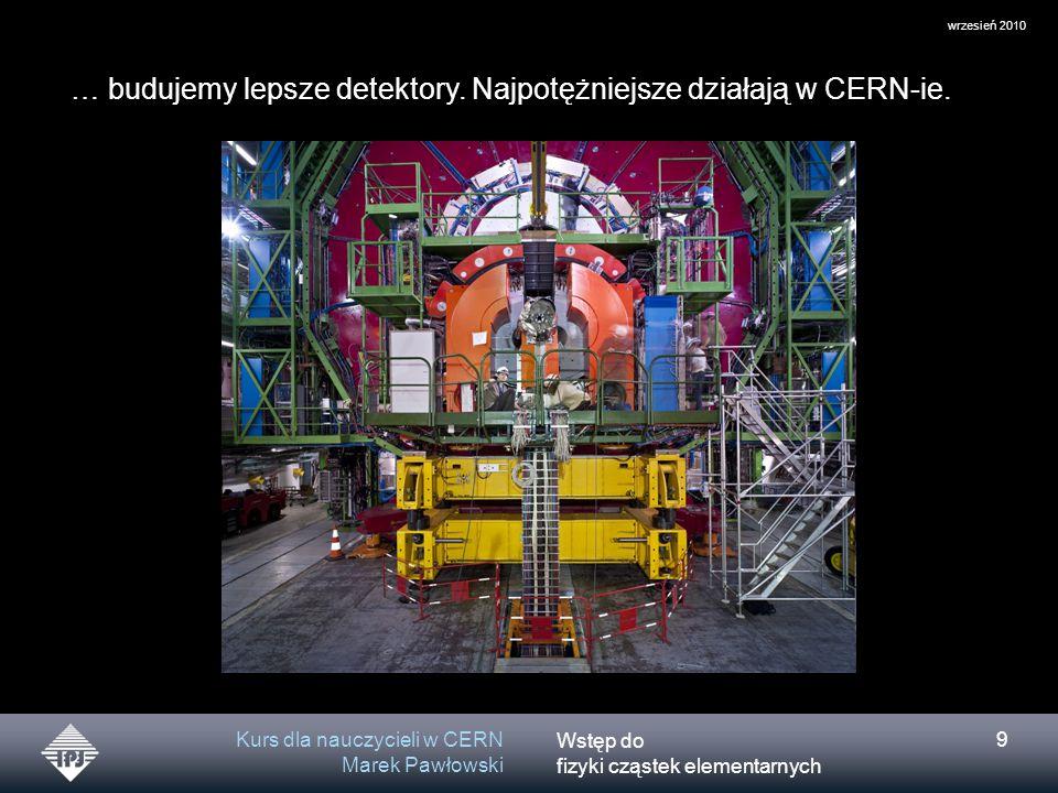 """Wstęp do fizyki cząstek elementarnych wrzesień 2010 Kurs dla nauczycieli w CERN Marek Pawłowski 30 """"Tablica Mendelejewa cząstek AD 2010 Cząstki fundamentalne Cząstki przenoszące oddziaływania Zbudowano Model Standardowy czyli bardzo użyteczną teorię pozwalającą przewidywać i wyliczać co się zdarzy w niezliczonych procesach z udziałem cząstek elementarnych."""