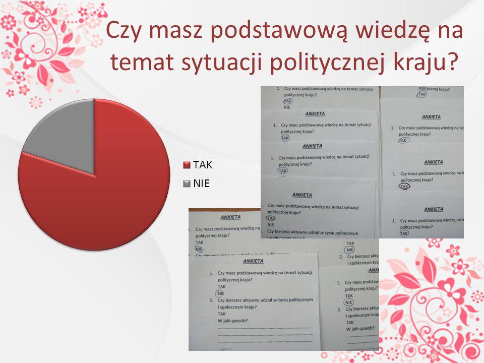Czy masz podstawową wiedzę na temat sytuacji politycznej kraju?