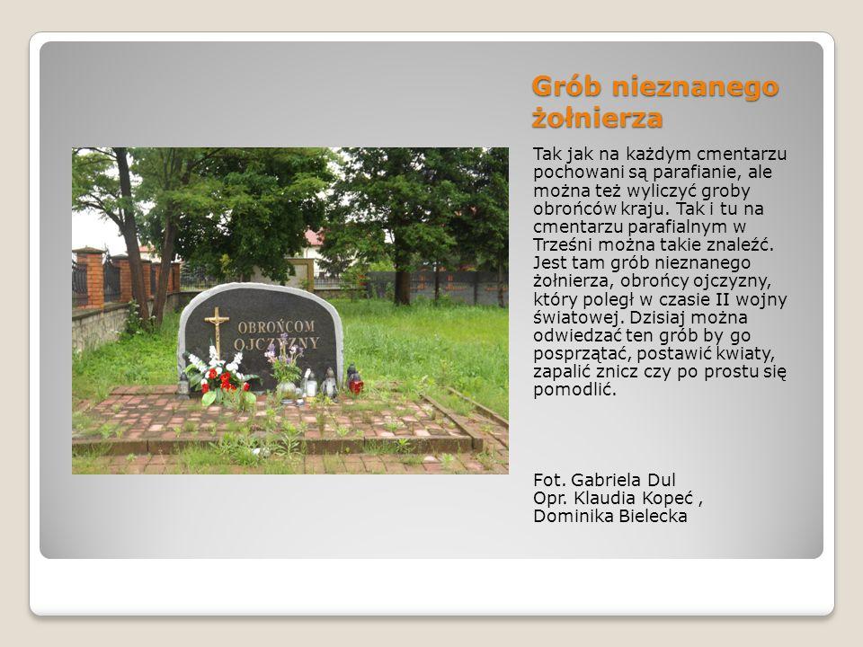 Grób nieznanego żołnierza Tak jak na każdym cmentarzu pochowani są parafianie, ale można też wyliczyć groby obrońców kraju.