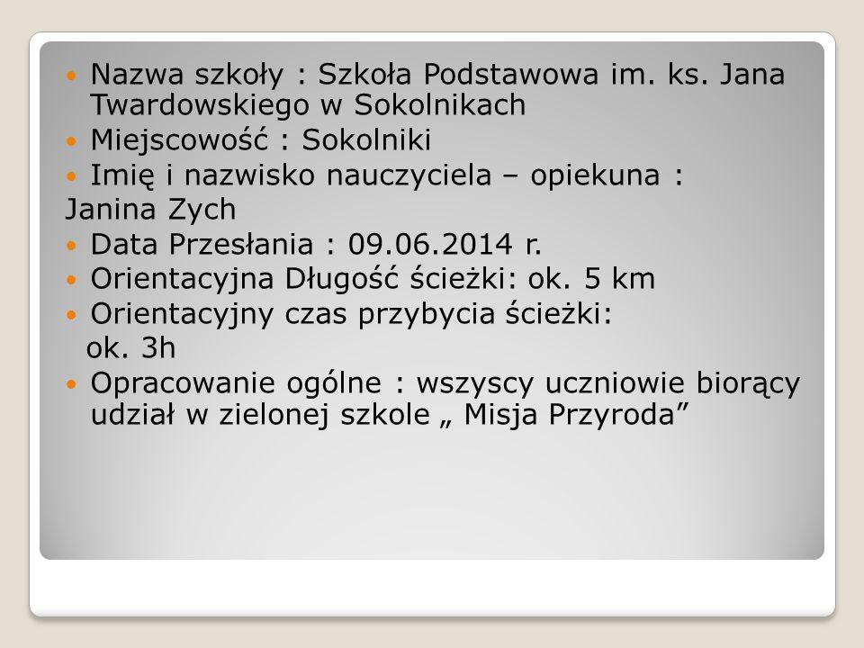 Nazwa szkoły : Szkoła Podstawowa im.ks.