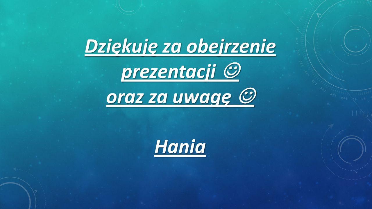 Dziękuję za obejrzenie prezentacji oraz za uwagę Hania