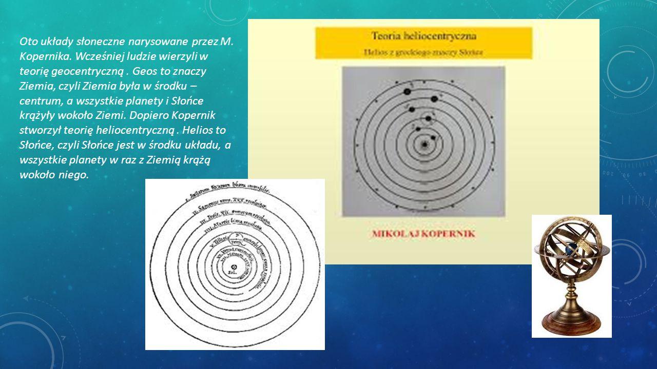 Oto układy słoneczne narysowane przez M. Kopernika. Wcześniej ludzie wierzyli w teorię geocentryczną. Geos to znaczy Ziemia, czyli Ziemia była w środk
