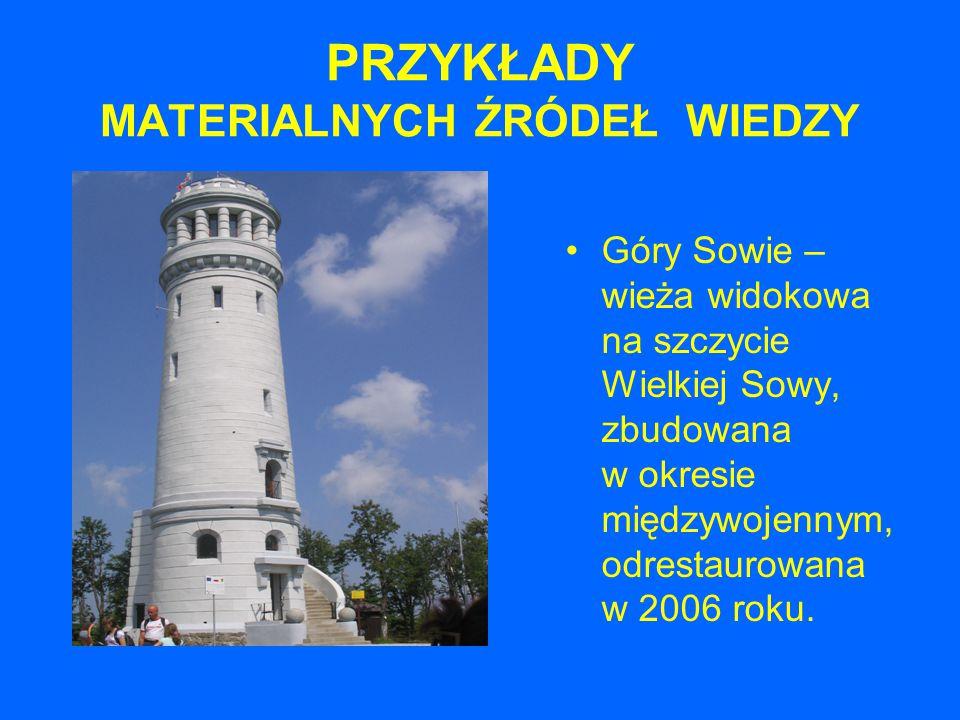 PRZYKŁADY MATERIALNYCH ŹRÓDEŁ WIEDZY Góry Sowie – wieża widokowa na szczycie Wielkiej Sowy, zbudowana w okresie międzywojennym, odrestaurowana w 2006