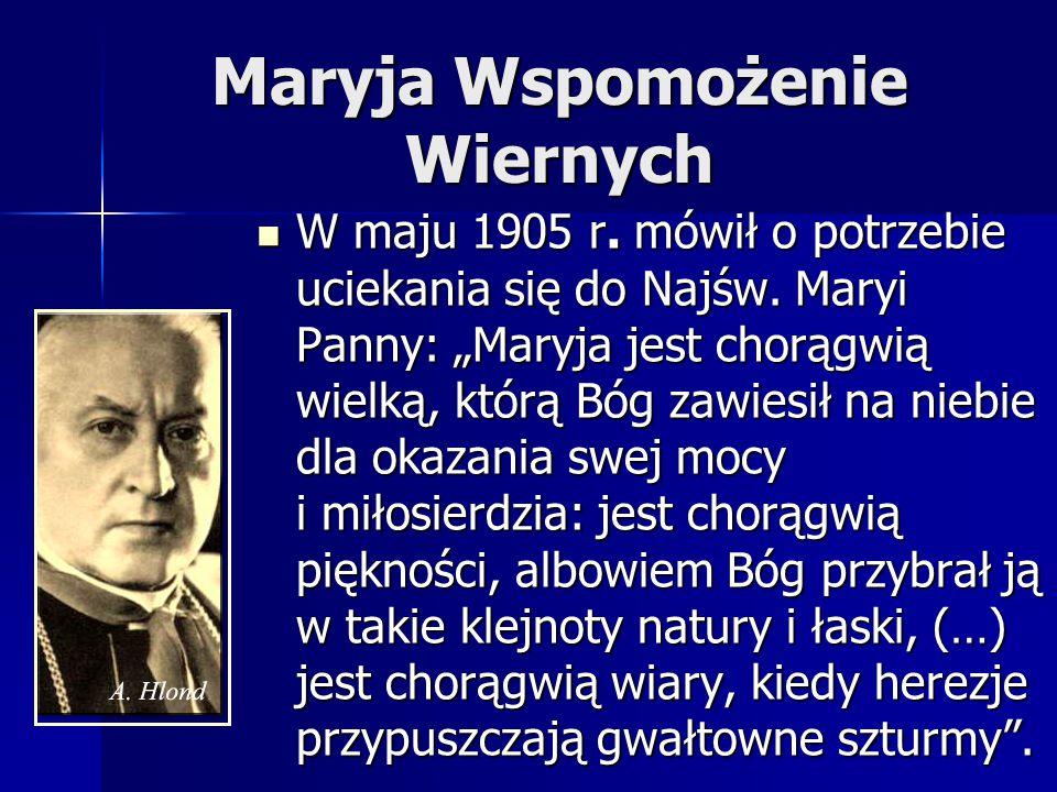 """Wątek złożenia w ręce Maryi """"Wszechmocy Bożej W przemówieniu na otwarcie bazyliki gnieźnieńskiej, 25 listopada 1945 r.: """"Niech Wniebowzięta Pani i Królowa (…), z obfitości swego Niepokalanego Serca darzy naród polski bogactwem łask, których jest władną szafarką i niech Polskę na drogach do Królestwa Bożego otacza tą wszechmocą, która z przywileju Stwórcy spoczywa dziś w jej macierzystych rękach ."""