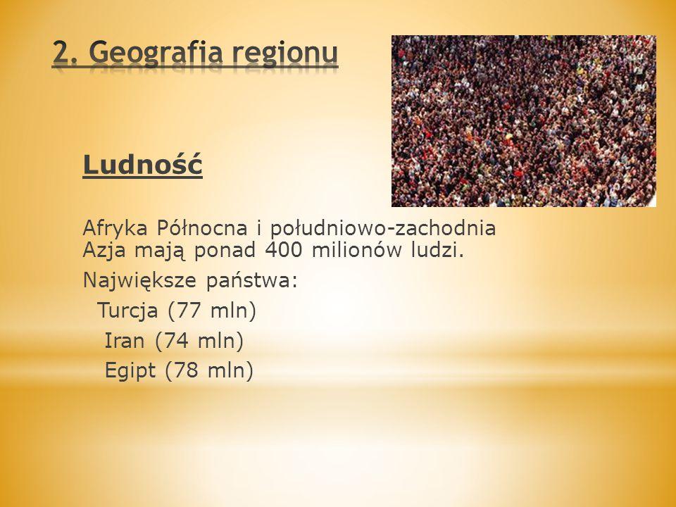 Ludność Afryka Północna i południowo-zachodnia Azja mają ponad 400 milionów ludzi. Największe państwa: Turcja (77 mln) Iran (74 mln) Egipt (78 mln)