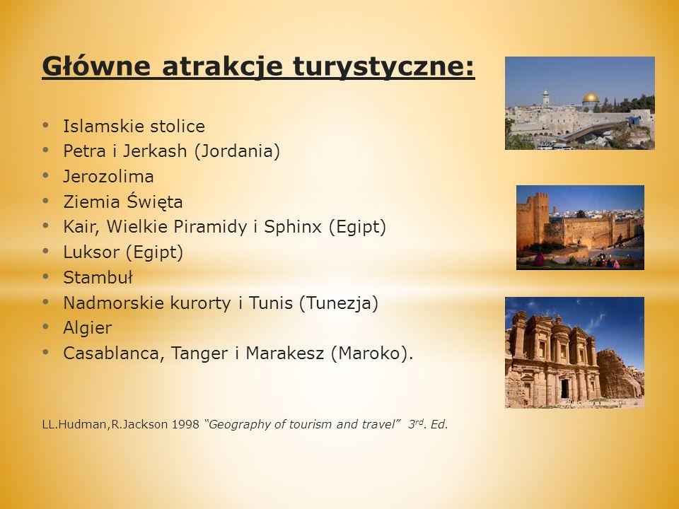 Główne atrakcje turystyczne: Islamskie stolice Petra i Jerkash (Jordania) Jerozolima Ziemia Święta Kair, Wielkie Piramidy i Sphinx (Egipt) Luksor (Egipt) Stambuł Nadmorskie kurorty i Tunis (Tunezja) Algier Casablanca, Tanger i Marakesz (Maroko).