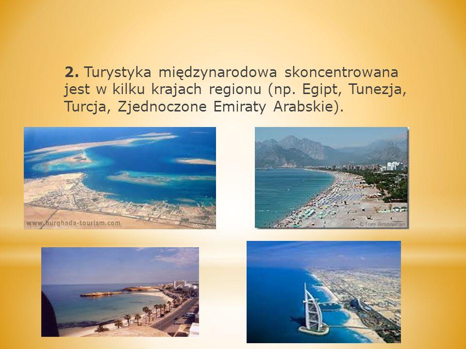 2. Turystyka międzynarodowa skoncentrowana jest w kilku krajach regionu (np. Egipt, Tunezja, Turcja, Zjednoczone Emiraty Arabskie).