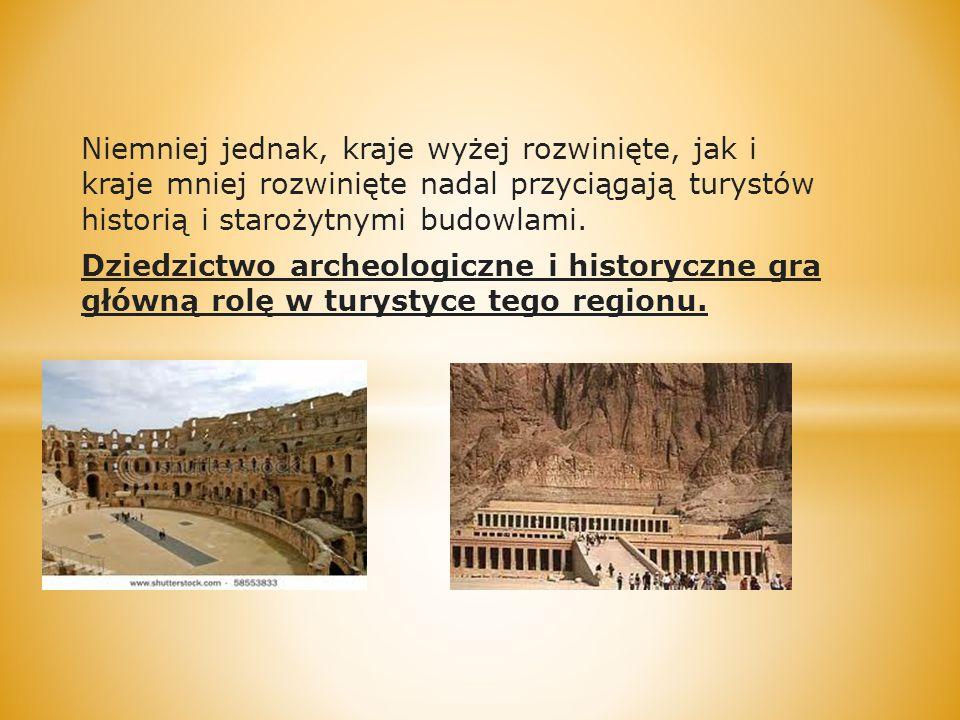 Niemniej jednak, kraje wyżej rozwinięte, jak i kraje mniej rozwinięte nadal przyciągają turystów historią i starożytnymi budowlami. Dziedzictwo archeo