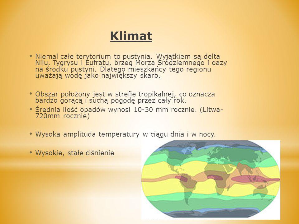 Klimat Niemal całe terytorium to pustynia. Wyjątkiem są delta Nilu, Tygrysu i Eufratu, brzeg Morza Śródziemnego i oazy na środku pustyni. Dlatego mies