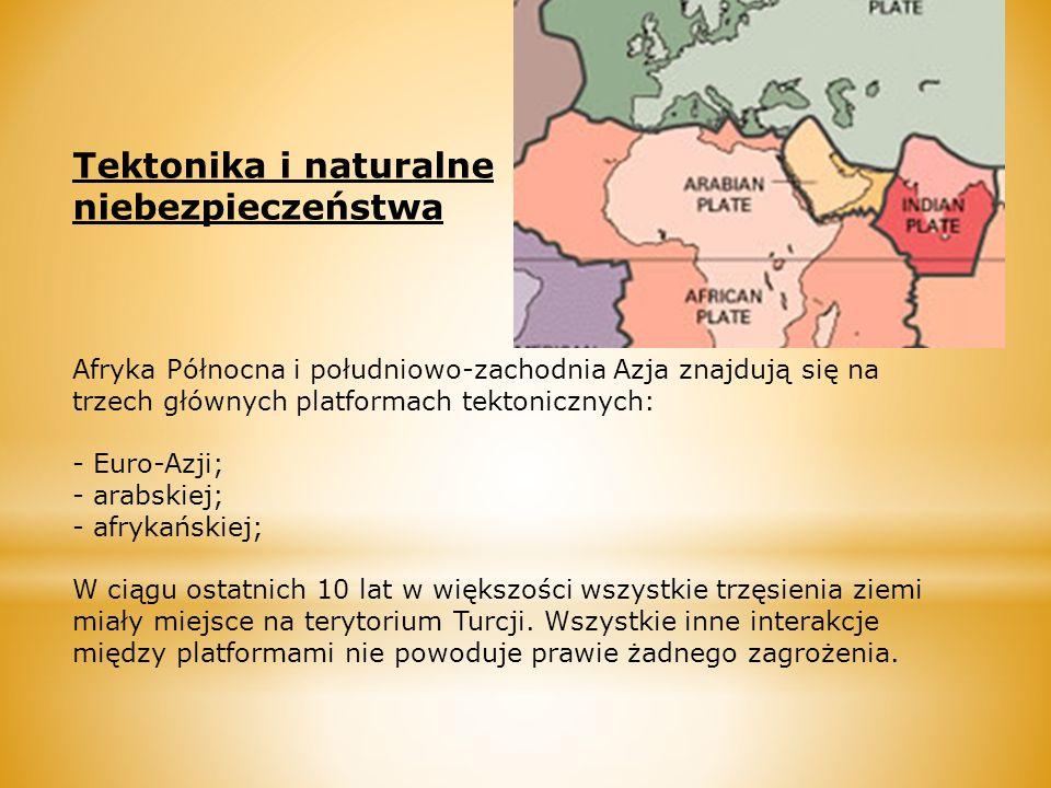 Tektonika i naturalne niebezpieczeństwa Afryka Północna i południowo-zachodnia Azja znajdują się na trzech głównych platformach tektonicznych: - Euro-Azji; - arabskiej; - afrykańskiej; W ciągu ostatnich 10 lat w większości wszystkie trzęsienia ziemi miały miejsce na terytorium Turcji.