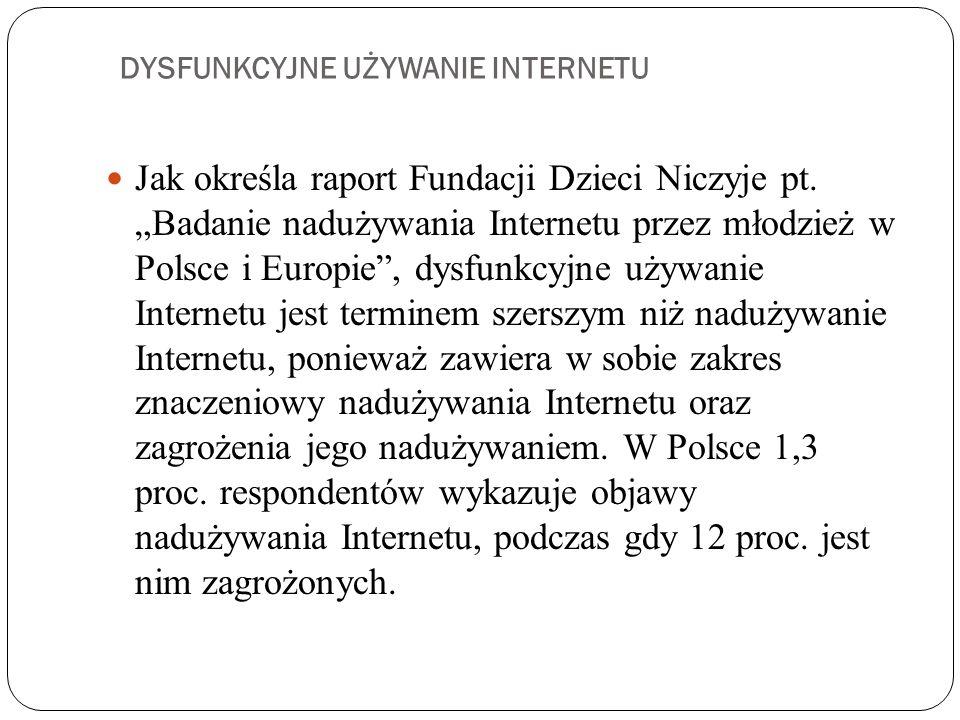 DYSFUNKCYJNE UŻYWANIE INTERNETU Jak określa raport Fundacji Dzieci Niczyje pt.