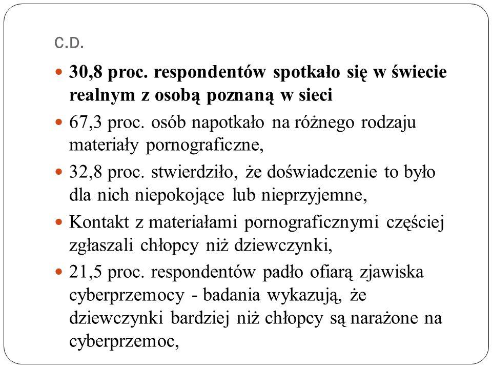 C.D.30,8 proc. respondentów spotkało się w świecie realnym z osobą poznaną w sieci 67,3 proc.