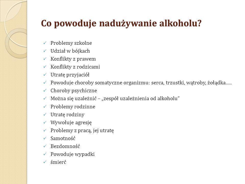 Co powoduje nadużywanie alkoholu? Problemy szkolne Udział w bójkach Konflikty z prawem Konflikty z rodzicami Utratę przyjaciół Powoduje choroby somaty