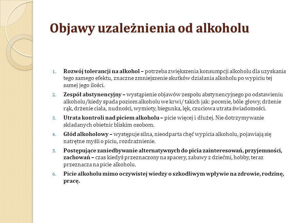 Objawy uzależnienia od alkoholu 1. Rozwój tolerancji na alkohol – potrzeba zwiększenia konsumpcji alkoholu dla uzyskania tego samego efektu, znaczne z