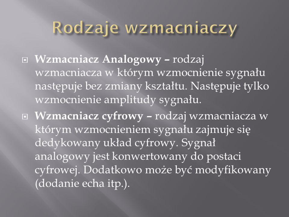  Wzmacniacz Analogowy – rodzaj wzmacniacza w którym wzmocnienie sygnału następuje bez zmiany kształtu. Następuje tylko wzmocnienie amplitudy sygnału.