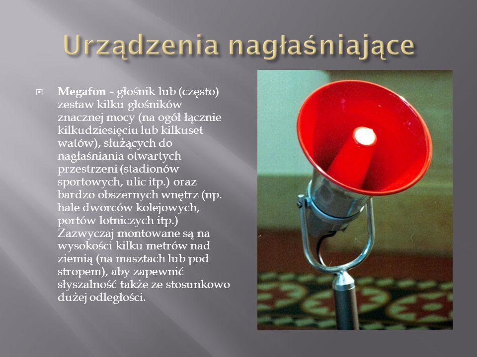  Megafon - głośnik lub (często) zestaw kilku głośników znacznej mocy (na ogół łącznie kilkudziesięciu lub kilkuset watów), służących do nagłaśniania