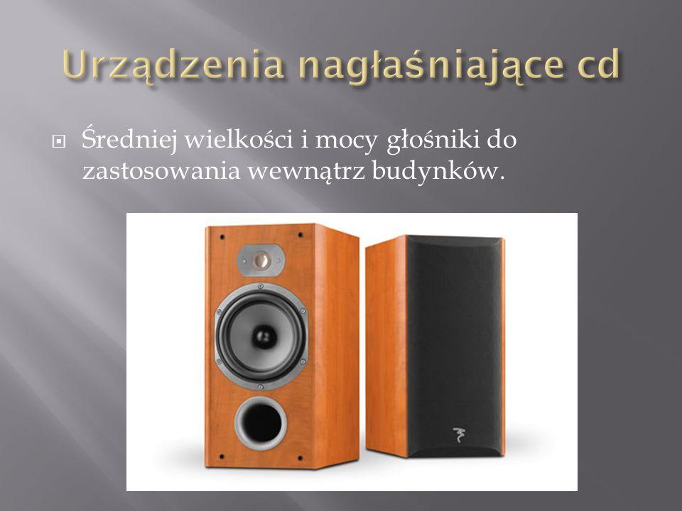  Średniej wielkości i mocy głośniki do zastosowania wewnątrz budynków.