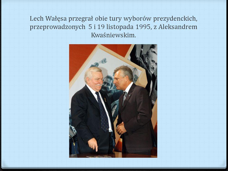 Lech Wałęsa przegrał obie tury wyborów prezydenckich, przeprowadzonych 5 i 19 listopada 1995, z Aleksandrem Kwaśniewskim.