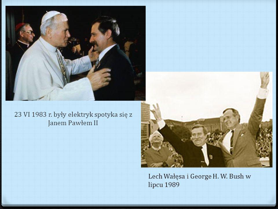 23 VI 1983 r.były elektryk spotyka się z Janem Pawłem II Lech Wałęsa i George H.