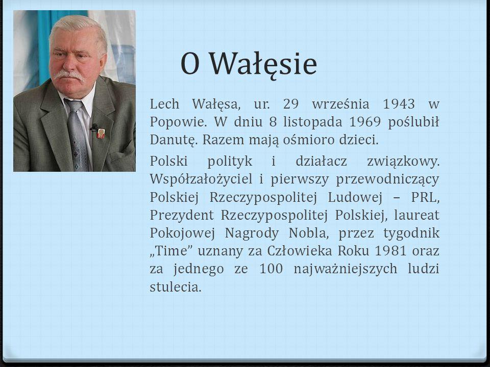 O Wałęsie Lech Wałęsa, ur.29 września 1943 w Popowie.