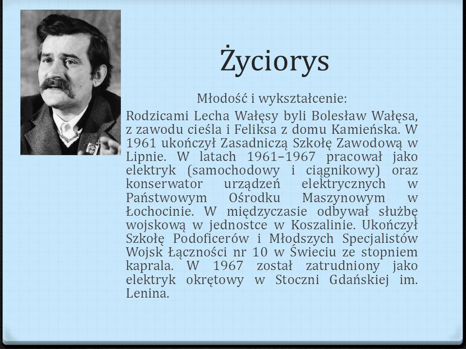 Życiorys Młodość i wykształcenie: Rodzicami Lecha Wałęsy byli Bolesław Wałęsa, z zawodu cieśla i Feliksa z domu Kamieńska.