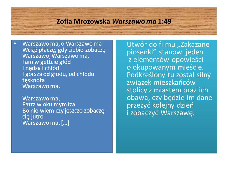 Zofia Mrozowska Warszawo ma 1:49 Warszawo ma, o Warszawo ma Wciąż płaczę, gdy ciebie zobaczę Warszawo, Warszawo ma. Tam w gettcie głód I nędza i chłód