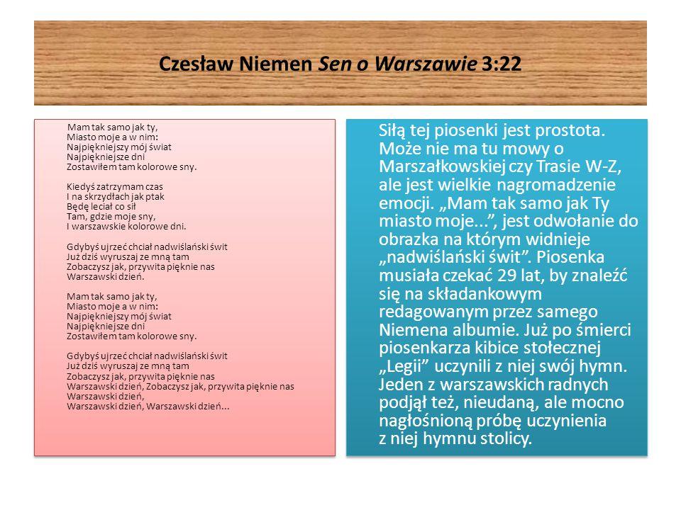 Czesław Niemen Sen o Warszawie 3:22 Mam tak samo jak ty, Miasto moje a w nim: Najpiękniejszy mój świat Najpiękniejsze dni Zostawiłem tam kolorowe sny.